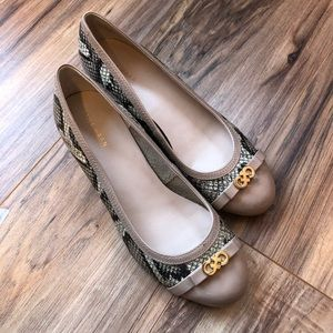 Cole Haan Nude & Snake Print Round Toed Wedges 8